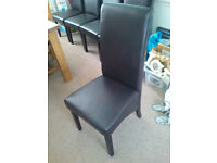 Set of 6 faux brown leather dining room chairs in very good condition. £130 ono