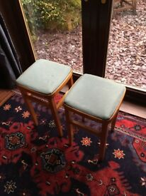 VINTAGE 1950's, RETRO, WOODEN STOOL WITH ORIGINAL, VINYL SEATING TOP