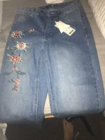 New embroidered jeans