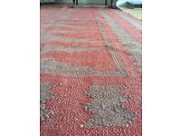 Stylish red vintage rug with pale brown aztec pattern