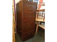 1943 WW2 Government Issue Filing Cabinet in Oak. Vintage/Industrial