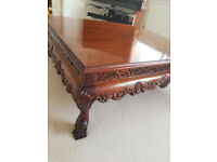 Large Solid Wood Coffee Table 1m Square. Stunning finish and carved side panels.