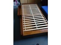 wooden single bed frame with drawers