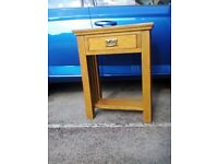 Hall/console table teak effect. Attractive table with drawer.
