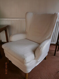 Traditional wing-backed bedroom chair