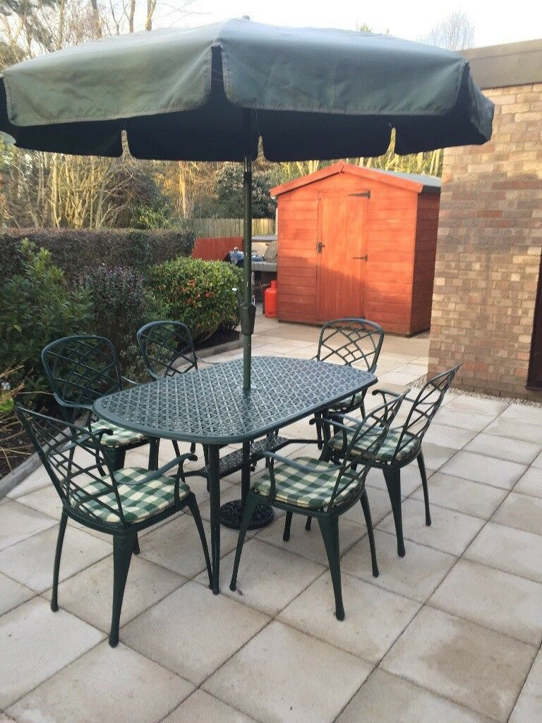 Olive Green Nova Aluminium Patio Table 6 Ft X 3 With Chairs Cushions