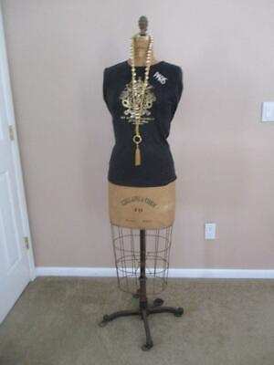 Antique Dress Form Metal Mannequin Sew Dressmaker Decorative Display Functional
