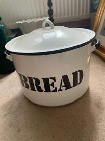 Vintage retro enamel bread bin - black & white