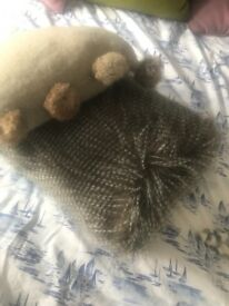 Speckled hen cushion and mohair cushions brand new