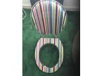 striped toilet seat