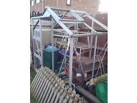Aluminium greenhouse, 4' x 6' , complete with glass which is already taken out.