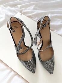 Zara silver snake skin heels size 3
