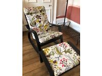 Ikea poang rocking chair and matching stool