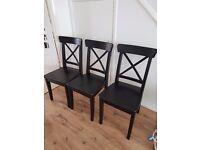 Ikea ingolf 4 black chairs