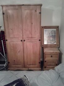 Mexican pine,double wardrobe bedside&picture,buy as you view,buyer collects