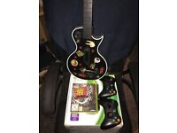 Xbox 360 4gb bundle 2 controllers guitar hero and memory stick