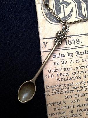 King Queen Crown Mini Tea Spoon BRONZE Necklace Vintage Steam Alice Snuff Ibiza