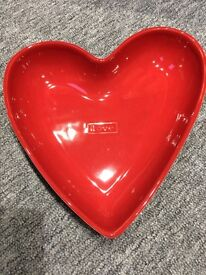 Red heart love dish - NEXT - Brand new in Box - Never used