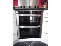 Integrated electric double oven with gas hob and hood