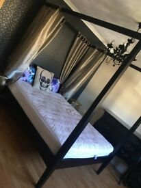 King size four poster bed and mattress
