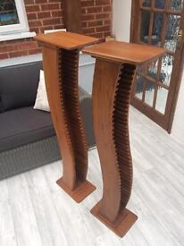 Two beautiful solid wooden CD stands