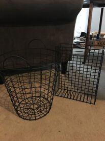 Wire Wastebasket & Paper Organizer