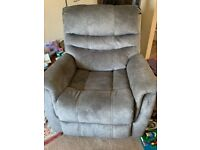 Grey faux suede recliner swivel chair