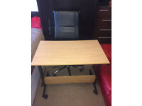 Computer/ Laptop Desk/ Table with Slide-out Keyboard Tray & Leather Chair