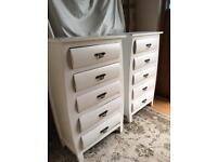 2 White Chest Drawers / Bedside Cabinets