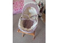 Gorgeous liberty linen and floral moses basket