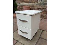 New Bedside Table Cabinet 2 Drawer Chrome Legs Very Heavy + Solid Ivory 3 Avail.