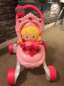 Fisher price princess chimea doll and lights and sounds pushchair