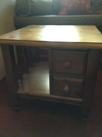 Ducal Victoria Pine Side Table with drawers, Good Condition