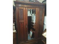 Gorgeous Antique Edwardian Inlaid Mahogany Mirrored Wardrobe