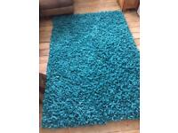 Polyester turquoise Shag Pile rug