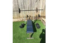 Weights bench, barbell, dumbell and weights