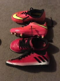 Boys Size 11 football boots and football trainers
