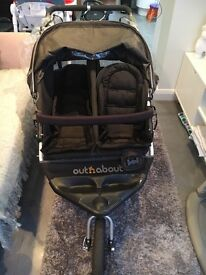 Out and about double pram