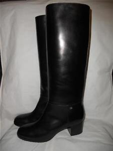 chanel 12a classic black leather knee high boots cc