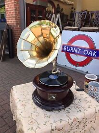Wind up gramophone, brass horn, working order *Open to Offers*