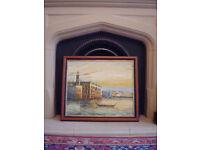 *** Venice Oil Painting Hand painting - Mahogany Frame ***