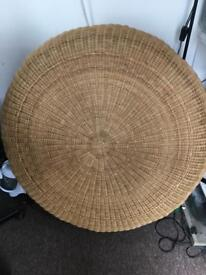 Large Vintage Woven Wicker Coffee Table