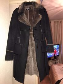 Black and brown suede and fur coat
