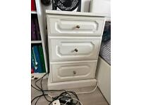 3 drawer - White wood bedside table