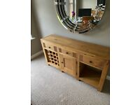 Solid Oak Side Board with Wine Rack from Sterling Furniture
