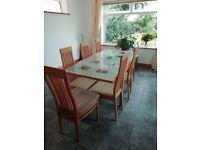 Dining table and 8 chairs. Excellent quality and condition. Arighi Bianchi. Extendable