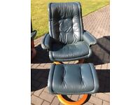 Stressless chair and footstool