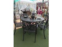 Unique metal garden/patio dinning table set