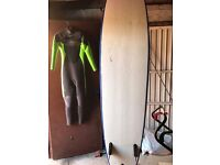 Surf Board and Girls Surf Suit Age 12-13