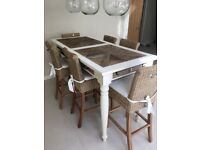 Beautiful Rustic Driftwood Riviera Maison High Breakfast Table and six rattan bar chairs